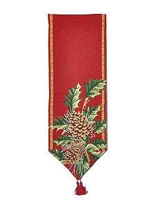 Caminho de Mesa Pinhas Vermelho 180cm - 01 unidade - Cromus Natal - Rizzo Embalagens