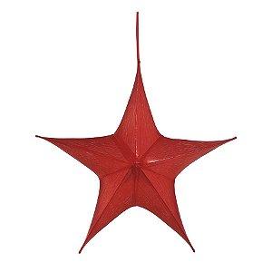 Estrela Aérea Decorativa Vermelho 60cm - 01 unidade - Cromus Natal - Rizzo Embalagens