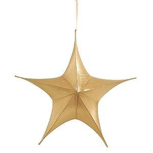 Estrela Aérea Decorativa Ouro 60cm - 01 unidade - Cromus Natal - Rizzo Embalagens