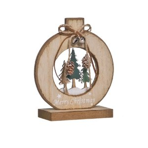 Enfeite de Madeira Bola com 3 Pinheiros 15cm - 01 unidade - Cromus Natal - Rizzo Embalagens
