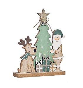 Enfeite de Madeira Pinheiro Rena e Papai Noel 25cm - 01 unidade - Cromus Natal - Rizzo Embalagens