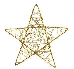 Estrela Rattan Ouro 35cm - 01 unidade - Cromus Natal - Rizzo Embalagens