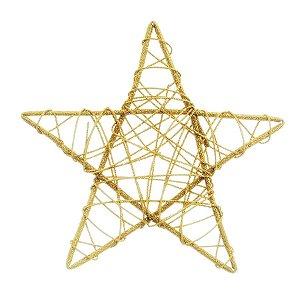Estrela Rattan Ouro 25cm - 01 unidade - Cromus Natal - Rizzo Embalagens