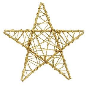 Estrela Rattan Ouro 20cm - 01 unidade - Cromus Natal - Rizzo Embalagens