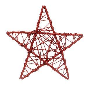 Estrela Rattan Vermelho 20cm - 01 unidade - Cromus Natal - Rizzo Embalagens