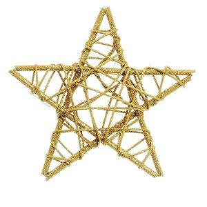 Estrela Rattan Ouro 15cm - 01 unidade - Cromus Natal - Rizzo Embalagens
