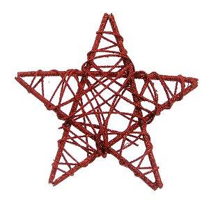Estrela Rattan Vermelho 15cm - 01 unidade - Cromus Natal - Rizzo Embalagens