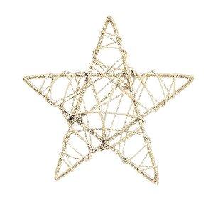Estrela Rattan Nude 15cm - 01 unidade - Cromus Natal - Rizzo Embalagens
