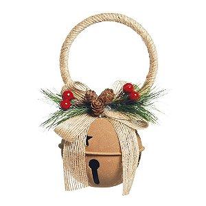 Guizo Bege com Folhas e Cerejas Bege 16cm - 01 unidade - Cromus Natal - Rizzo Embalagens