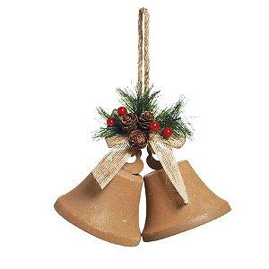 Sino Duplo para Pendurar Bege com Folhas e Cerejas 23cm - 01 unidade - Cromus Natal - Rizzo Embalagens