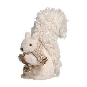 Esquilo de Pelúcia em Pé com Cachecol e Avelã Branco 30cm - 01 unidade - Cromus Natal - Rizzo Embalagens