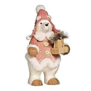 Urso de Pelúcia Rose Gold Segurando Presente 45cm - 01 unidade - Cromus Natal - Rizzo Embalagens