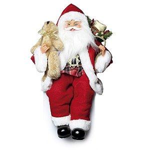 Papai Noel Vermelho Sentado Segurando Urso 30cm - 01 unidade - Cromus Natal - Rizzo Embalagens