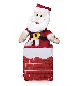 Papai Noel com Som e Movimento na Chaminé 25cm - 01 unidade - Cromus Natal - Rizzo Embalagens