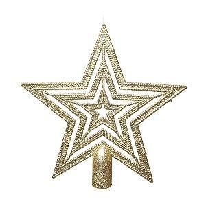 Ponteira para Árvore Estrela Ouro Vazada 20cm - 01 unidade - Cromus Natal - Rizzo Embalagens