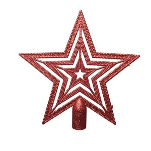 Ponteira para Árvore Estrela Vermelho Vazada 20cm - 01 unidade - Cromus Natal - Rizzo Embalagens