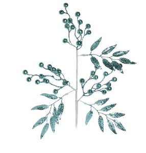 Galho Grande Folhas e Frutas Turquesa Glitter 55cm - 01 unidade - Cromus Natal - Rizzo Embalagens