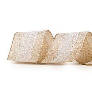 Fita Tecido Renda Centro Natural e Branca 6,3cm - 01 unidade 10m- Cromus Natal - Rizzo Embalagens