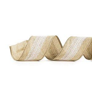 Fita Tecido Renda Centro Natural e Branca 6,3cm - 01 unidade 10m - Cromus Natal - Rizzo Embalagens