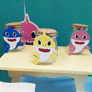 Potinho Vidro com Rolha 100ml Lembrancinha Baby Shark - Rizzo Embalagens e Festas