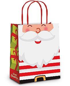 Sacola de Papel Feliz Noel M 26x19,5x9,5cm  - 10 unidades - Cromus Natal - Rizzo Embalagens