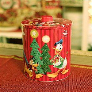 Lata Redonda Turma do Mickey 28cm - 01 unidade - Natal Disney - Cromus - Rizzo Embalagens