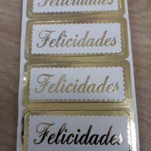 Etiqueta Para Presente Felicidades - 100 unidades - Decorart - Rizzo Embalagens