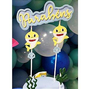 Topo de Bolo em Eva Parabens Festa Baby Shark - Rizzo Festas