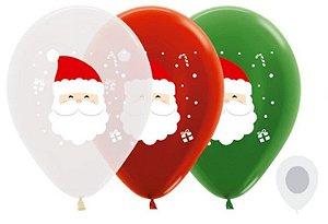 Balão de Festa Latex R12'' 30cm - Papai Noel Sortido - 50 unidades - Sempertex Cromus Natal - Rizzo Festas