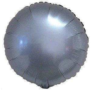 Balão Metalizado Redondo Liso 20'' 50cm - Cromado Azul Steel - Flexmetal - Rizzo Embalagens e Festas