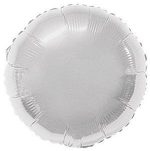 Balão Metalizado Redondo Liso 20'' 50cm - Prata - Flexmetal - Rizzo Embalagens e Festas