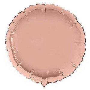 Balão Metalizado Redondo Liso 20'' 50cm - Rosê Gold - Flexmetal - Rizzo Embalagens e Festas