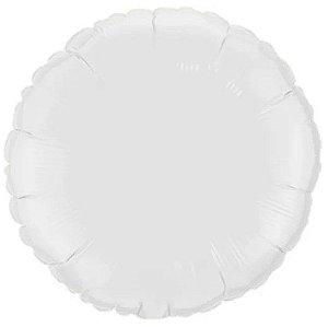 Balão Metalizado Redondo Liso 20'' 50cm - Branco - Flexmetal - Rizzo Embalagens e Festas