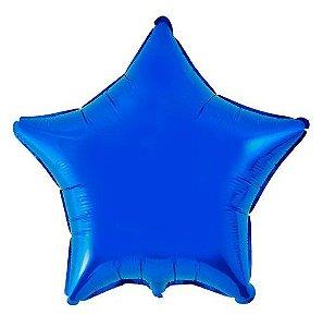 Balão Metalizado Estrela Liso 20'' 50cm - Azul - Flexmetal - Rizzo Embalagens e Festas