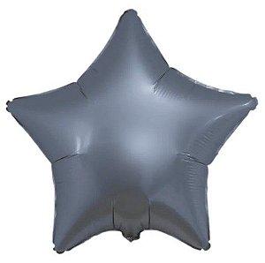 Balão Metalizado Estrela Liso 20'' 50cm - Cromado Azul Steel - Flexmetal - Rizzo Embalagens e Festas