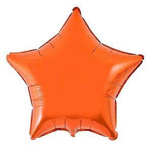 Balão Metalizado Estrela Liso 20'' 50cm - Laranja - Flexmetal - Rizzo Embalagens e Festas