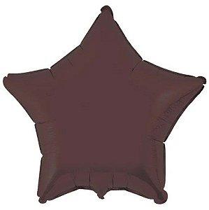 Balão Metalizado Estrela Liso 20'' 50cm - Chocolate - Flexmetal - Rizzo Embalagens e Festas