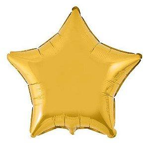 Balão Metalizado Estrela Liso 20'' 50cm - Ouro - Flexmetal - Rizzo Embalagens e Festas