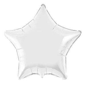 Balão Metalizado Estrela Liso 20'' 50cm - Prata - Flexmetal - Rizzo Embalagens e Festas