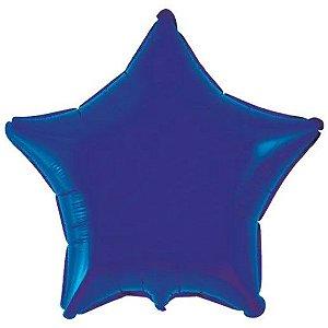 Balão Metalizado Estrela Liso 20'' 50cm - Azul Marinho - Flexmetal - Rizzo Embalagens e Festas