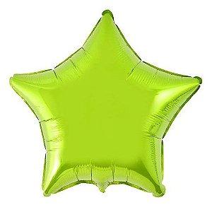 Balão Metalizado Estrela Liso 20'' 50cm - Verde Limão - Flexmetal - Rizzo Embalagens e Festas