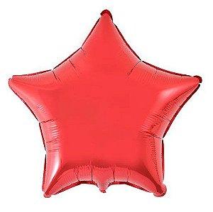 Balão Metalizado Estrela Liso 20'' 50cm - Vermelho - Flexmetal - Rizzo Embalagens e Festas