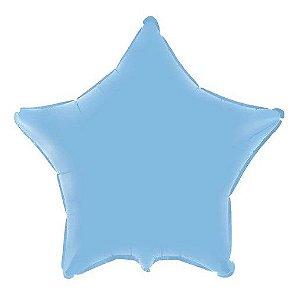 Balão Metalizado Estrela Liso 20'' 50cm - Azul Baby - Flexmetal - Rizzo Embalagens e Festas