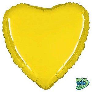 Balão Metalizado Coração Liso 20'' 50cm - Amarelo - Flexmetal - Rizzo Embalagens e FCoras