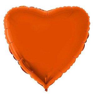 Balão Metalizado Coração Liso 20'' 50cm - Laranja - Flexmetal - Rizzo Embalagens e FCoras