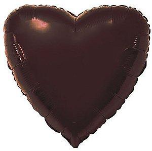 Balão Metalizado Coração Liso 20'' 50cm - Chocolate - Flexmetal - Rizzo Embalagens e FCoras