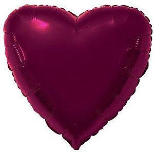 Balão Metalizado Coração Liso 20'' 50cm - Marsala - Flexmetal - Rizzo Embalagens e FCoras