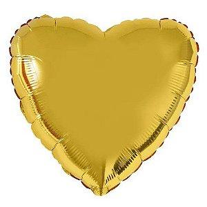 Balão Metalizado Coração Liso 20'' 50cm - Ouro - Flexmetal - Rizzo Embalagens e FCoras