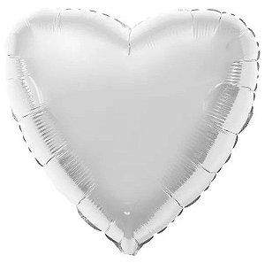 Balão Metalizado Coração Liso 20'' 50cm - Prata - Flexmetal - Rizzo Embalagens e FCoras