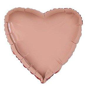 Balão Metalizado Coração Liso 20'' 50cm - Rosê Gold - Flexmetal - Rizzo Embalagens e FCoras
